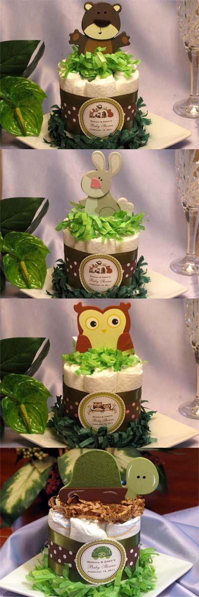 LMK Gifts Baby Shower Woodland Forest Animals diaper cake centerpiece