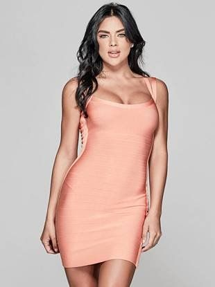 Valentine's Day Dress: Stun in this curve-skimming bandage dress featuring a double-strap sleeveless design and scoop neckline | MARCIANO.com