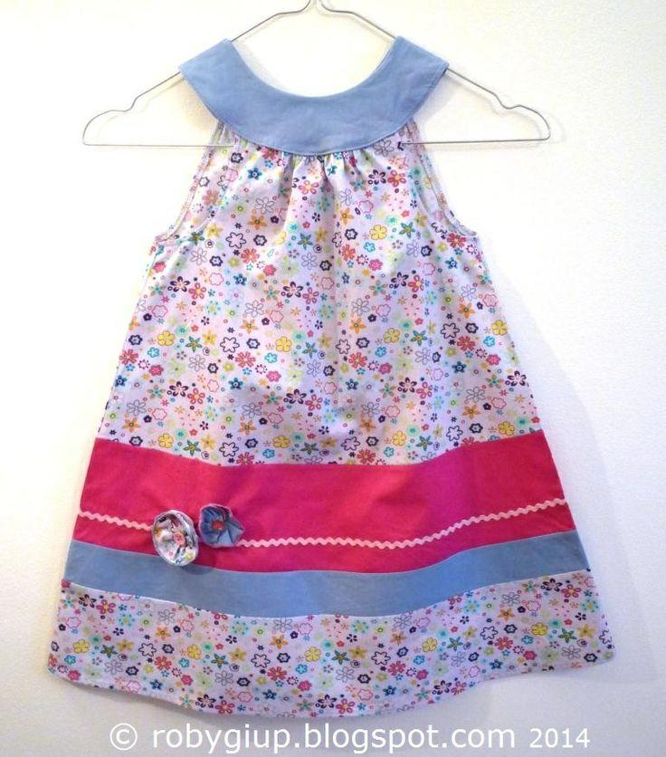 Abito bimba taglia 2 anni - Girl dress size 2T - RobyGiup handmade #sewing #girl #dress