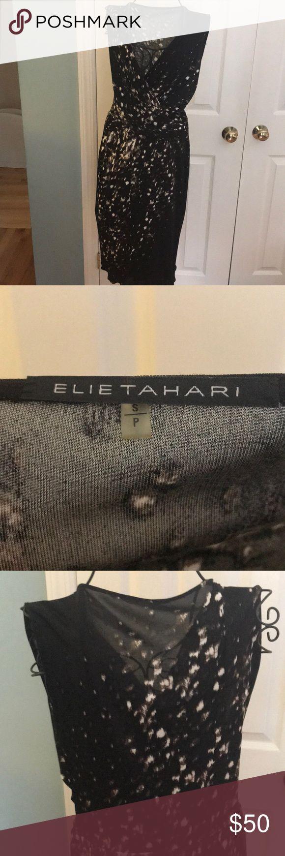 Elie Tahari  dress. Stretch slip on size S Elie Tahari slip on stretch dress. Viscose rayon. Soft. Black, brown, cream random pattern. Size Small Elie Tahari Dresses