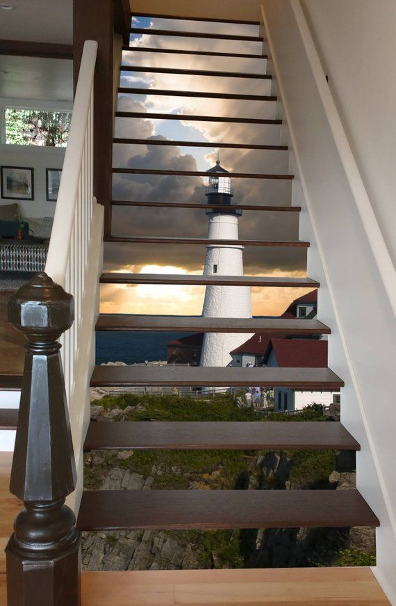 Lighthouse At Dawn Etsy Beautiful Stairs Stair Riser Decals Stair Decor