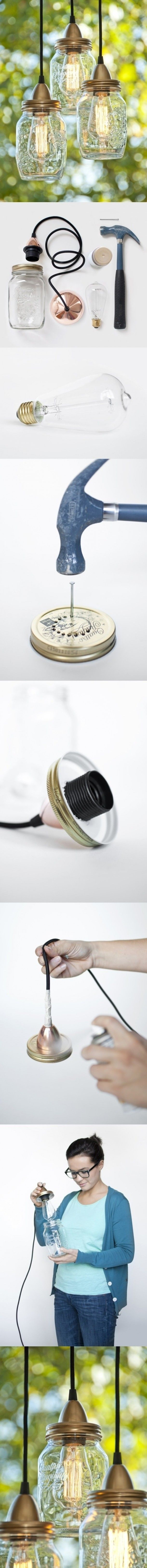 Zelfmaak lamp van Mason Jars