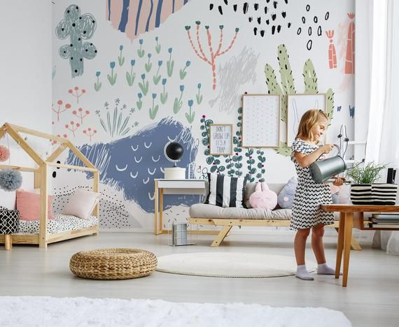 Artistic Floral Wallpaper Creative Abstract Pattern Kids Sketch Drawing Peel And Stick Wallpaper Removable Wall Murals Floral Wallpaper Nursery Wallpaper