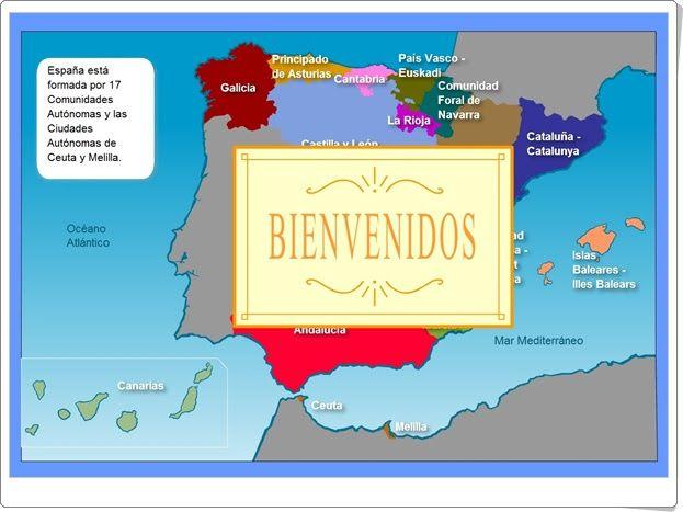 """""""La organización de España"""" es un mapa interactivo en el que se muestran las Comunidades Autónomas, y sus imágenes y características más representativas pinchando, en cada una de las comunidades."""