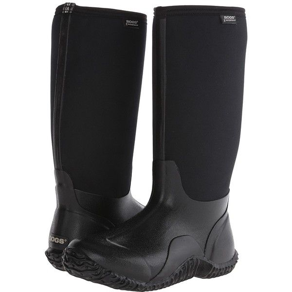 Bogs Classic High (Black) Women's Rain Boots ($86) ❤ liked on Polyvore featuring shoes, boots, knee-high boots, rain boots, knee boots, black waterproof boots, wellington boots and black stretch boots