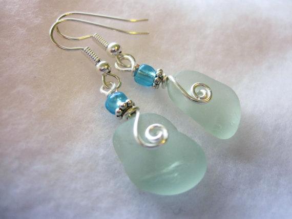 Sea Glass Earrings Sea Foam Sea Glass Earrings by NauticalSeaGlass, found on Etsy