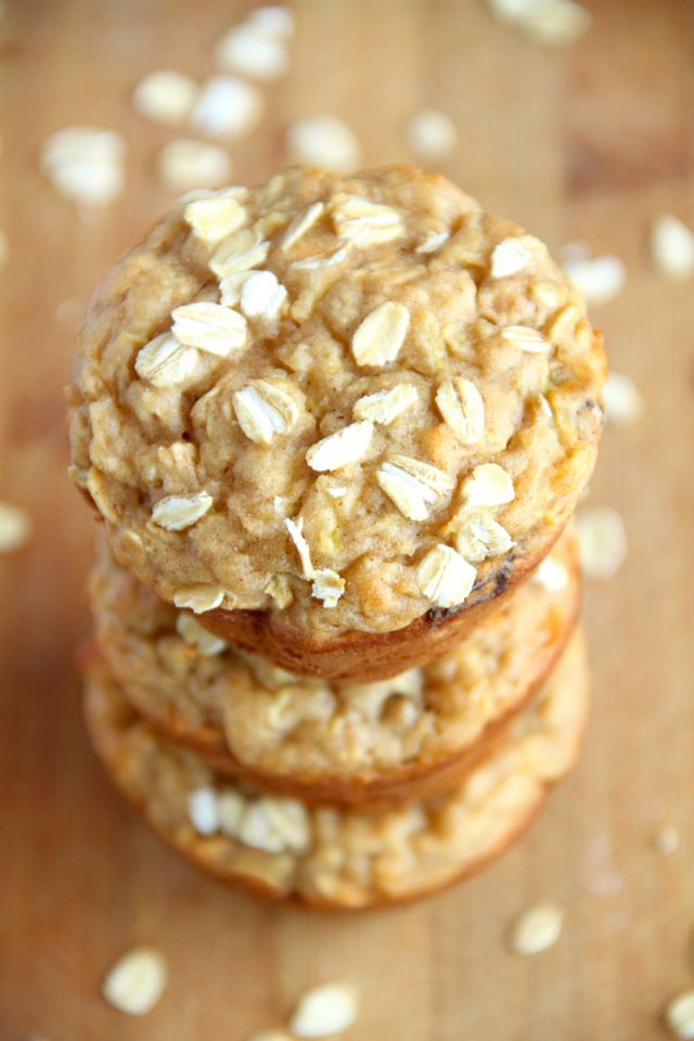 These soft and tender apple oat greek yogurt muffins are made with NO oil or butter! Subtly sweet and bursting with apple flavour!