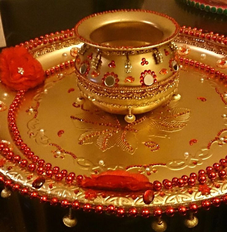 Beautiful wedding tray hand decorated with lots of jewells and gems, marching decorated makti pot