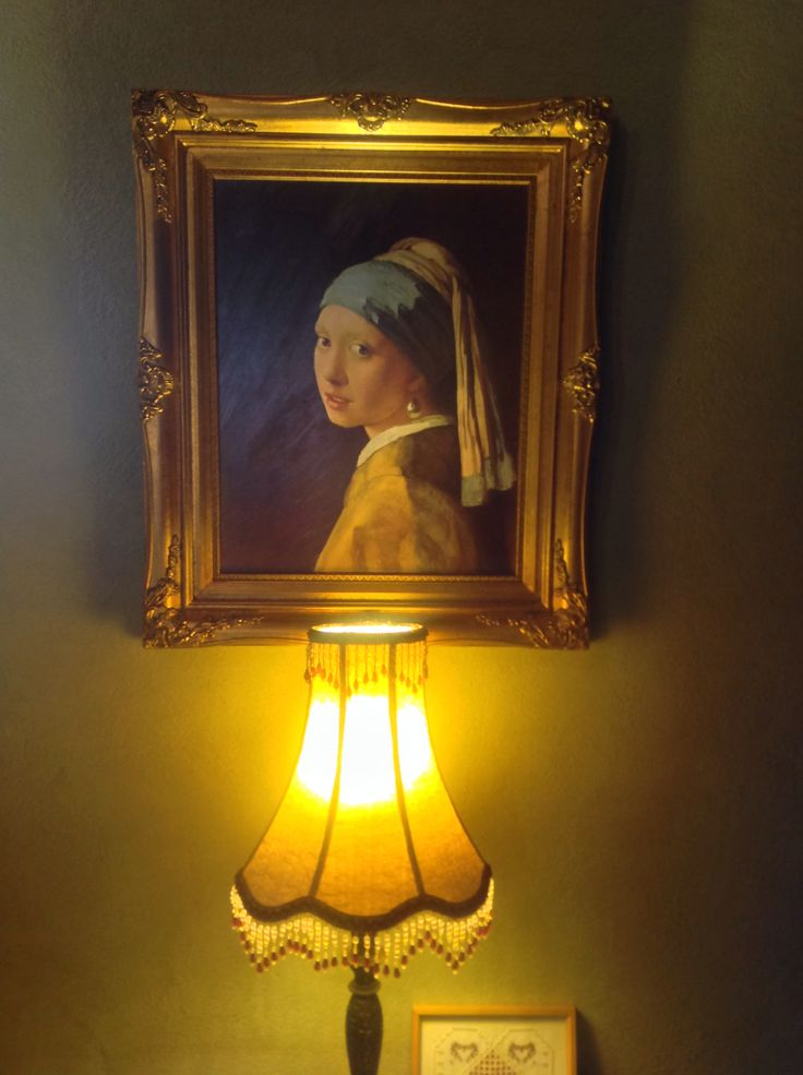 """ELMS-HAVEN, """"The girl with a pearl earring"""" my favourite painting. Shown off beautifully by a lamp I made hangs in our lounge room"""