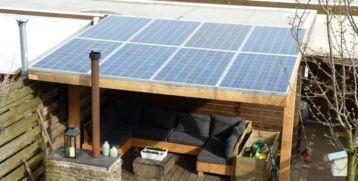 Marktplaats.nl - Houten overkapping met zonnepanelen € 3550,00 - Overige Tuin en Terras