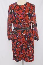 W118 by Walter Baker Size S Red Floral Print Polyester Wrap Dress 2329 T1016