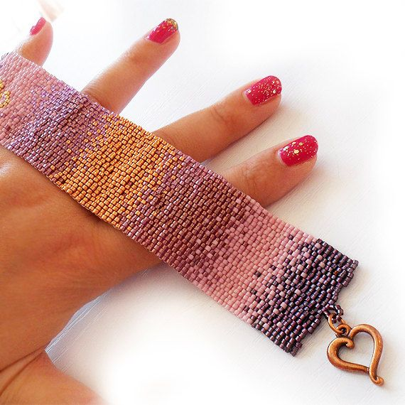 Copper and Pink Gradient Bracelet - Ombre Glass Beads Bracelet - Wide Beadwork Bracelet on Etsy, $122.00