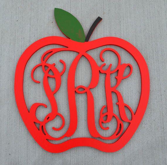 Monogram Apple Door Hanger // Fall Wreath // by EleganceLetters