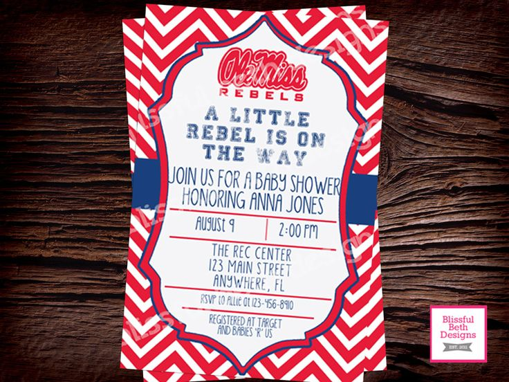 Ole Miss Baby Shower, Rebels Baby Shower Invitation,  Ole Miss Rebels Baby Shower Invite, Ole Miss, Ole Miss Rebels, Rebels, Rebel Shower by BlissfulBethDesigns on Etsy