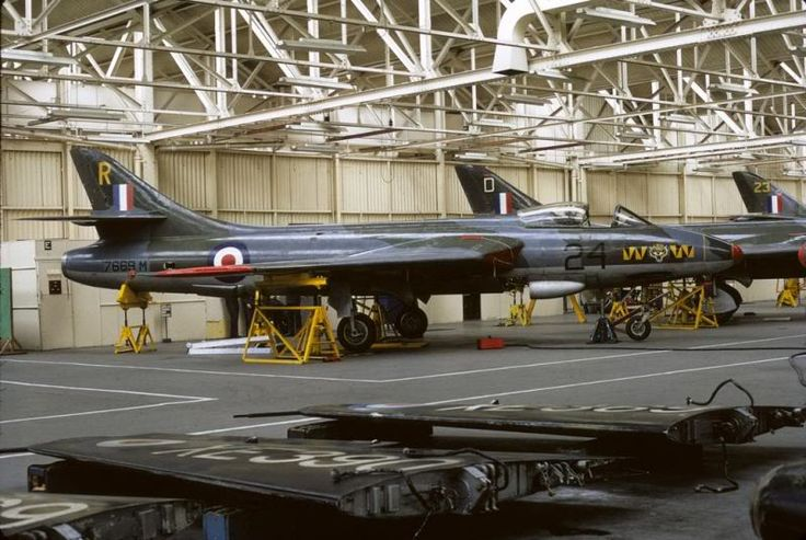 Hawker Hunter F4 of 74Sqn and on the floor wings from Sea Hawk FGA.6's XE390 & XE369 at No 1 School of Technical Training at RAF Halton Workshop 1971