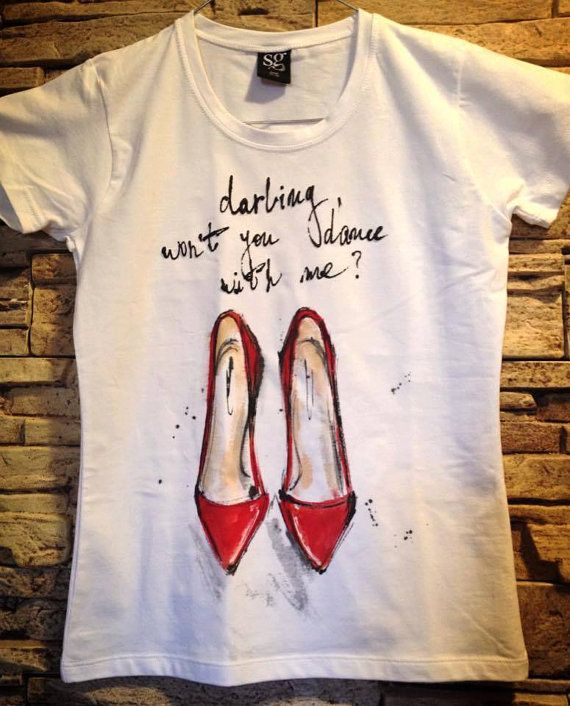 Hand painted Women red shoes on Tshirt. Chick by palettePandora