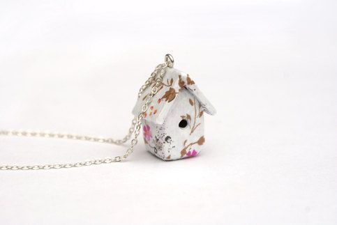 A cute little bird house made from polymer clay and covered in decorative paper, it stands at about an inch tall, and is comfortable to wear. I love this little cutey! It hangs from a silver plated 16 inch chain and comes gift wrapped, like everything else in my shop.    Great for mother's da...