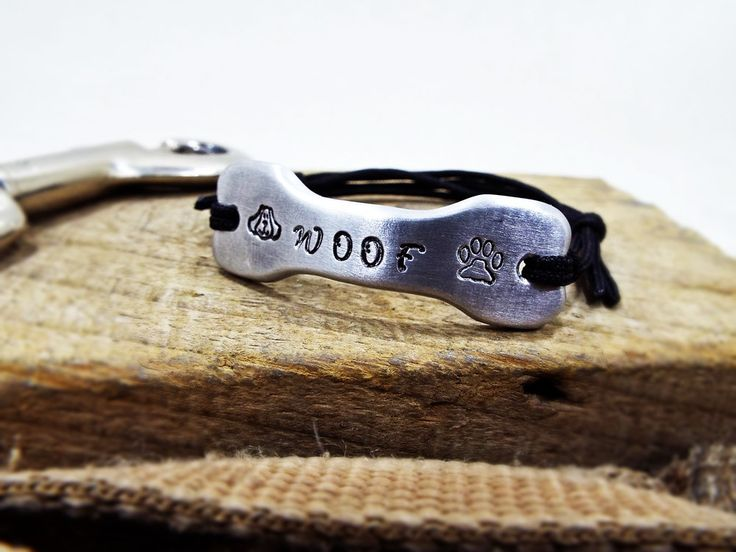 WOOF Dog Lover Bracelet - Aluminum Bone shape Personalized Dog face and Paw - Best Gift for Dog mommies and Dog fathers Pet Lovers by Aluminiopassions on Etsy