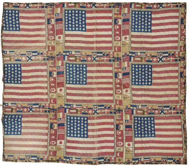 c 1876 Unique US 39-Star Flags Centennial Quilt : Lot 225