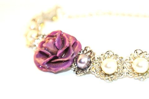 Galaxy Pearl real rose bracelet Sarah Blue real flower jewellery collections