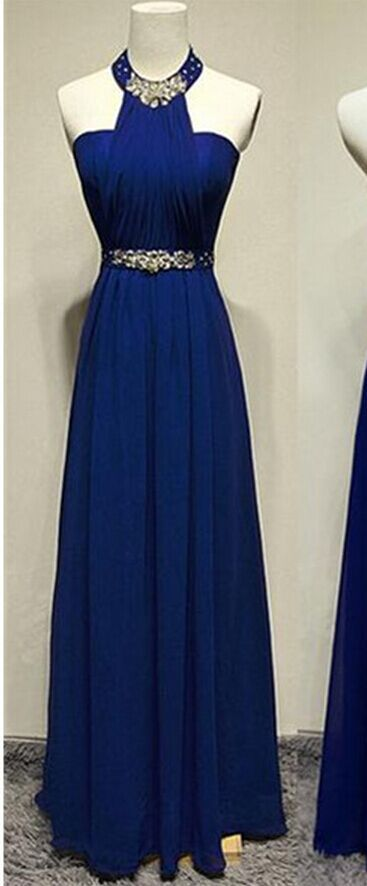 Royal Blue Halter Beaded Long Prom Dresses,A-line Chiffon Evening Dresses,Party Prom Dresses,Prom Dress,Evening Gowns On Sale - Dresses - http://amzn.to/2hZGwJq