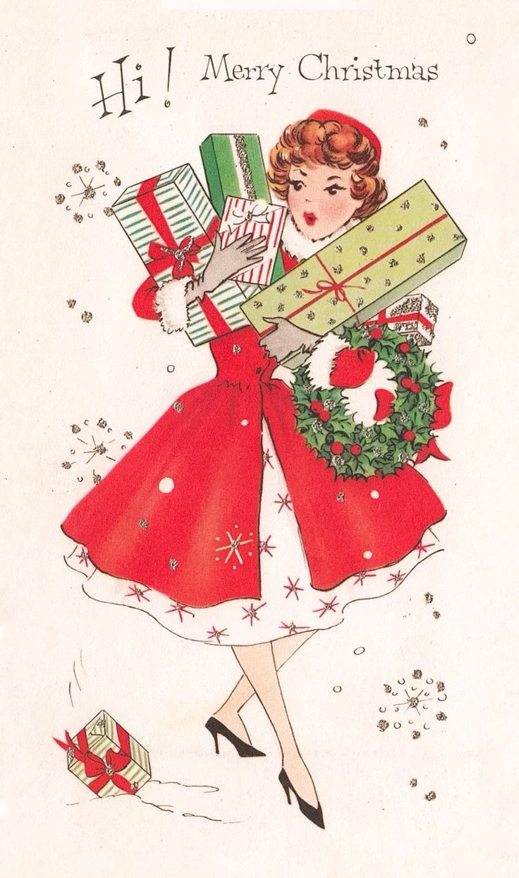 Vintage Greeting Card Christmas Cute Girl Lady Red Coat Fur Trim Mid-Century