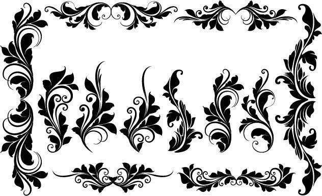 Floral Flowers Vector Page Decoration Ornamental Design Elements Digital Download PNG EPS PSD Transparent Background Border Clipart Clip Art by SlavGraphics on Etsy