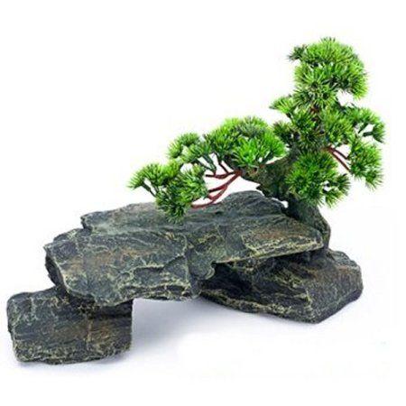 Penn plax large bonsai tree on rocks aquarium for Fish tank decorations amazon