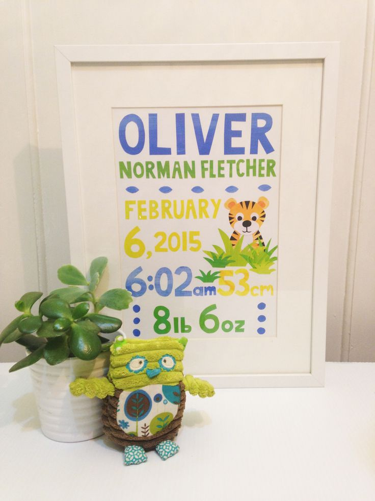 Custom Original Birth Announcement: Each piece of paper is individually cut and glued to create a one-of-a-kind unique piece for your child's room.