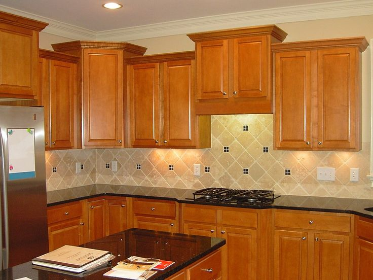 Kitchen Backsplashes For Black Granite Countertops With Oak Cabinets Kitchen Honey Oak