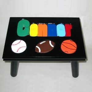 Personalized Black Puzzle Step Stool with Sport Balls helps little ones learn eye-hand coordination & 79 best Steppinu0027 Up images on Pinterest | Step stools Hand ... islam-shia.org