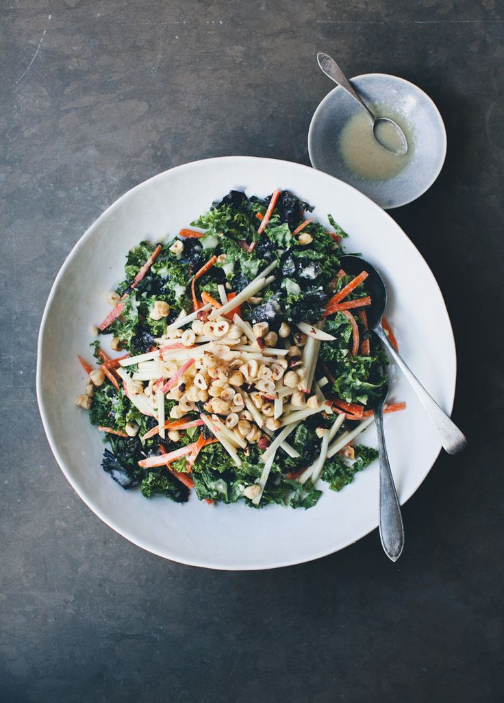 Green Kitchen Stories » Autumn Kale Slaw // to make vegan omit honey, for vegan sweetener of choice.