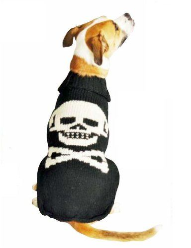 Chilly Dog Black Skull Dog Sweater X-Small