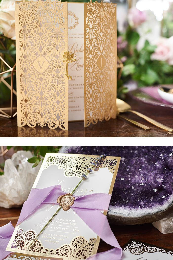 wedding invitation tied with ribbon%0A Bohemian Luxe Wedding Style In Fields Of Lavender