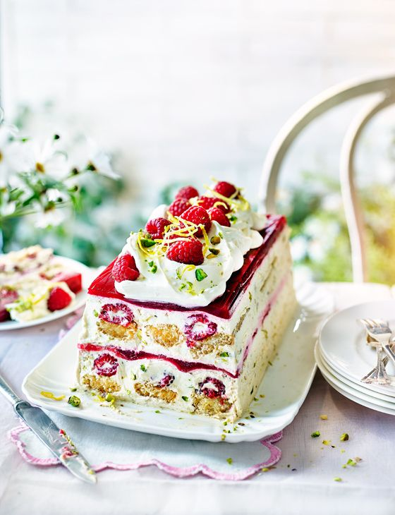Raspberry and Pimm's trifle terrine recipe - the most British dessert ever... This layered trifle terrine makes the perfect centrepiece for any buffet table or dinner party.