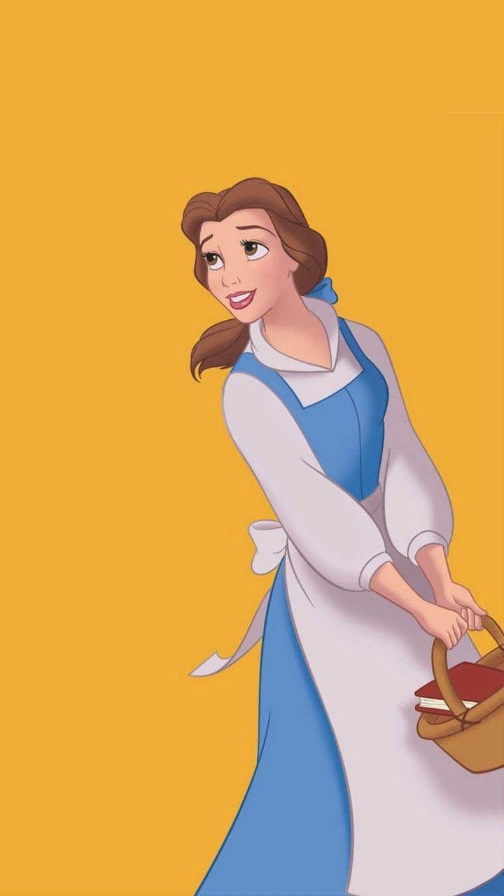 Bela No Fundo Amarelo Disney Belle Disney Princess Belle Arte