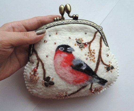 Handmade felted wallet purse with bullfinch by MarusyaKacharizkina ♡ More