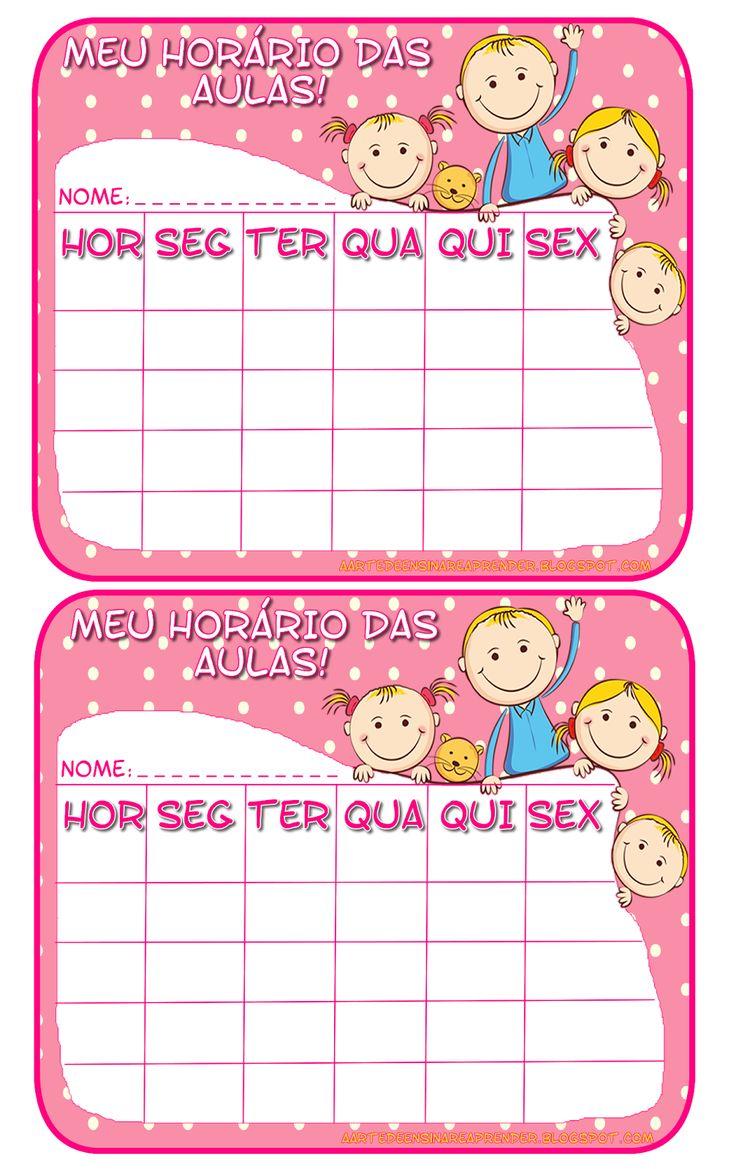 Plaquinhas lindas para colar no caderno e anotar o horário das aulas e deixar a volta às aulas mais feliz