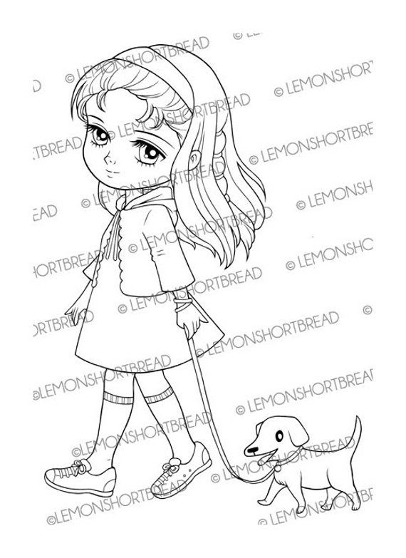 Digital Stamp Girl Walking Dog Puppy Digi Download Coloring Page