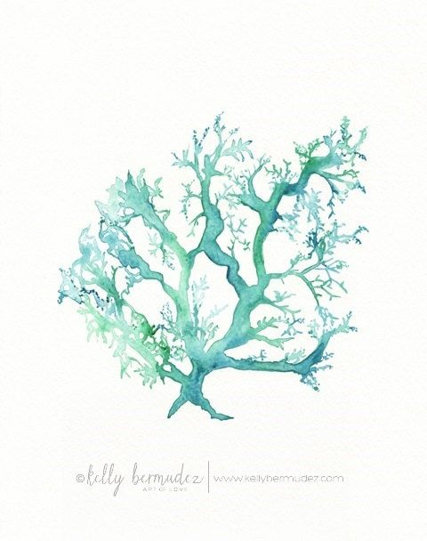No.1 Sea Coral / watercolor print / teal / light green / aqua / sea / ocean life /