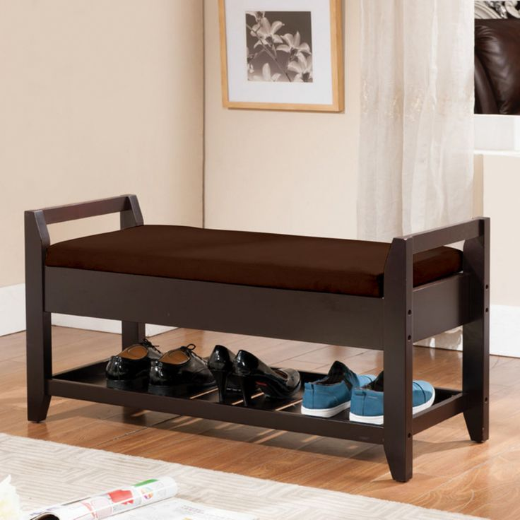 K&B Furniture Solid Wood Storage Bench - Espresso / Brown - Y14