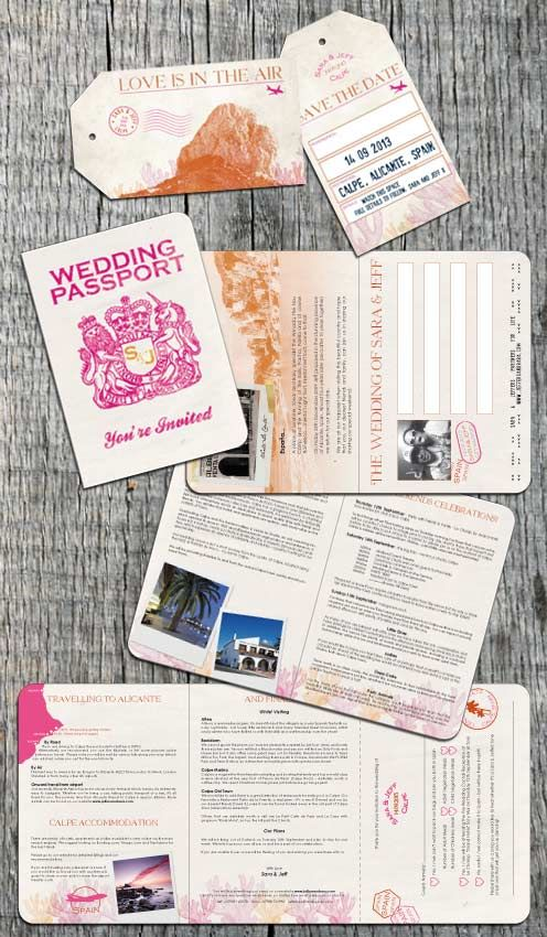 A retro Passport Invitation designed for a wedding in Calpe, Spain by DestinationStationery.com
