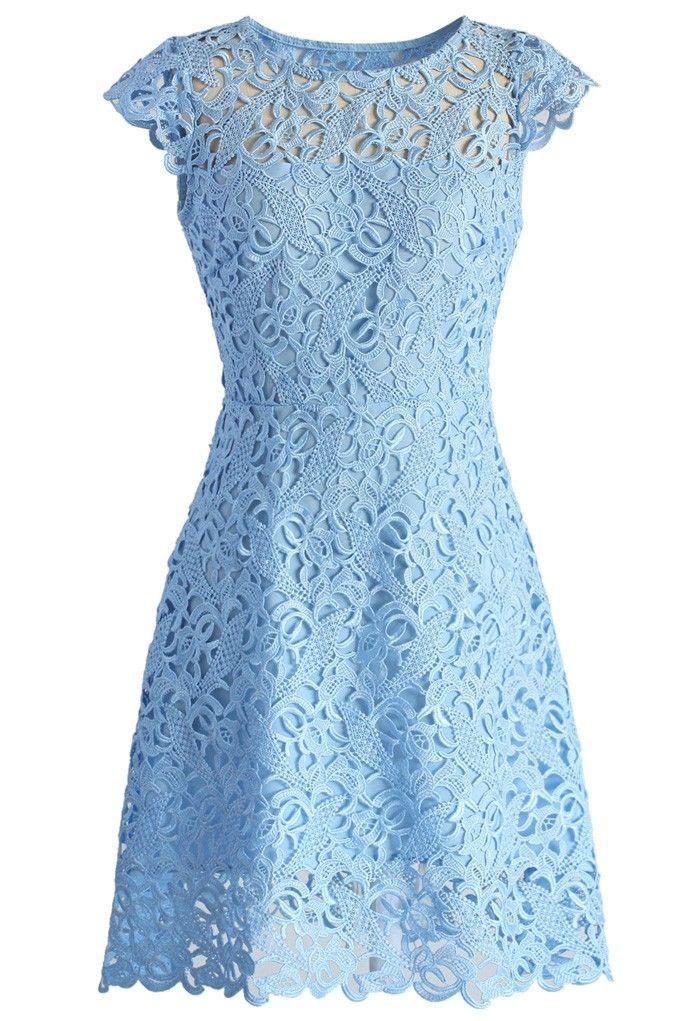 Vestido azul claro de renda | Blue lace print dress