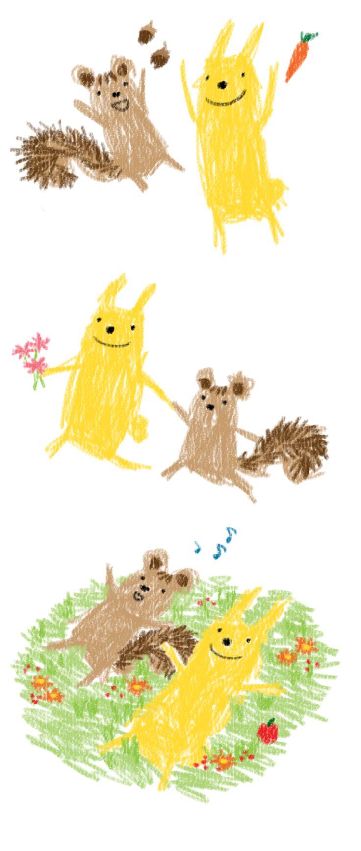 adorable rabbit and squirrel. illustrator_Heaven Kim