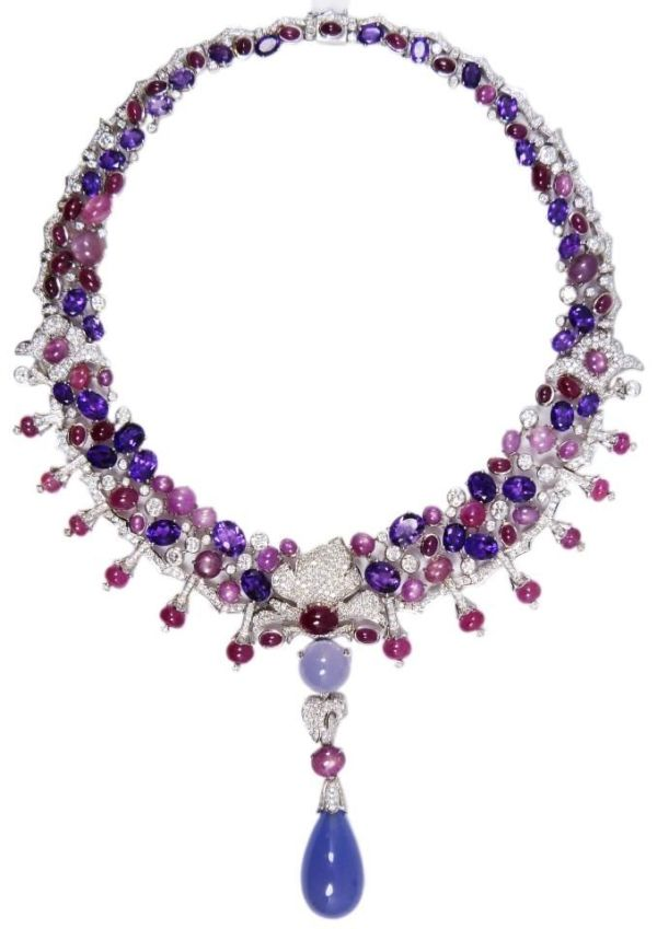 Cartier 18k white gold diamond & gemstone necklace. Made by a skilled jeweler to the specifications of a Cartier necklace found in the 2005 Cartier jewelry catalogue on the last page. Has diamond, amethyst, ruby star sapphire and chalcedony with a total measured gem weight of 199.61 carats by hester