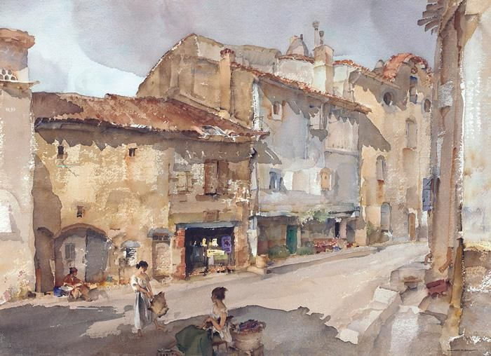 William Russell Flint The Street with the Sundial