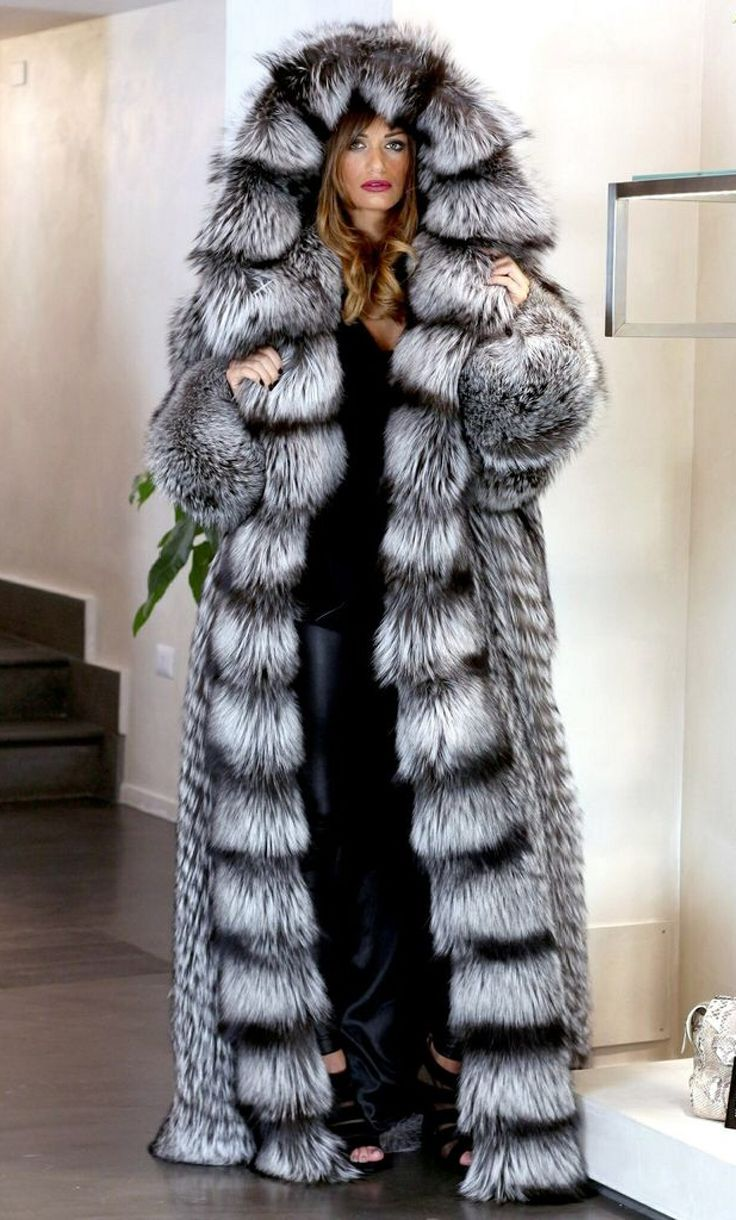 Giant hooded Silver fox fur coat | Fashion: Coats | Pinterest