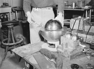 """sixpenceee: """"  The Demon Core During experiments with a sphere of plutonium nicknamed the """"demon core"""" at Los Alamos laboratory, scientist Louis Slotin died when a screwdriver slipped and the sphere went supercritical. After the room grew hot and was..."""