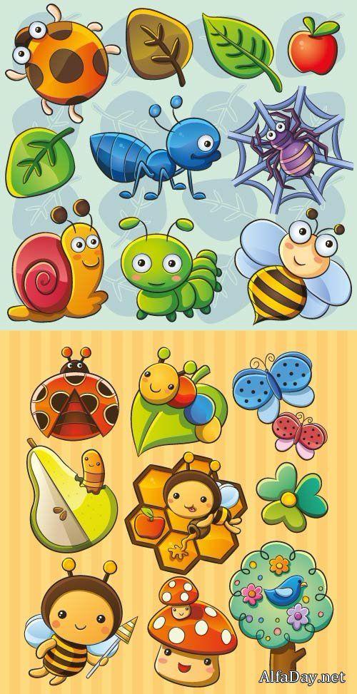 Пчела, улитка, паук, божья коровка, гусеница, бабочка, мухомор, птица, дерево - детский рисованный векторный клипарт