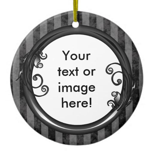 Black Grey Dark Vintage Frame Christmas Ornament - This Christmas ornament has a black and grey striped, grunge background which looks faded and old. Place your name inside the shiny black frame with leaves and swirly vines growing from it. Mothers day, fathers day, birthday, Christmas gift memento.
